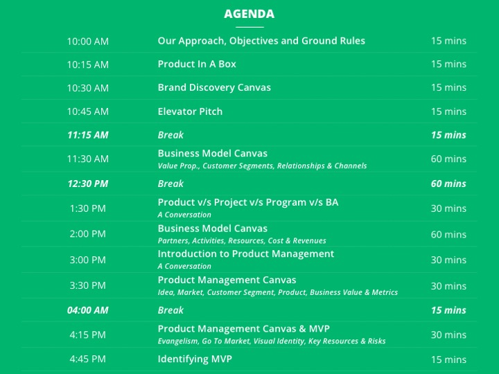 Product Management Workshop Agenda