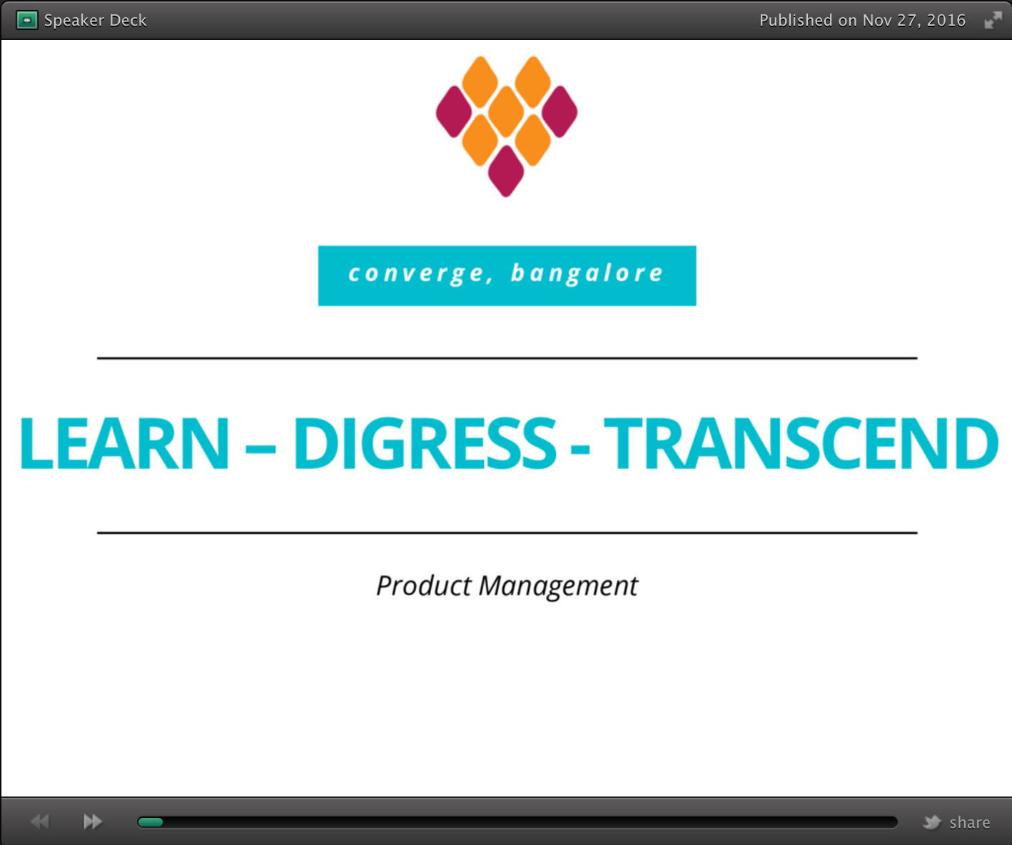 SpeakerDeck: Shuhari – Learn – Digress – Transcend